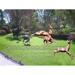 铜雕-动物五鹿3