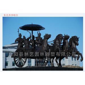 铜雕-人-马-车-04