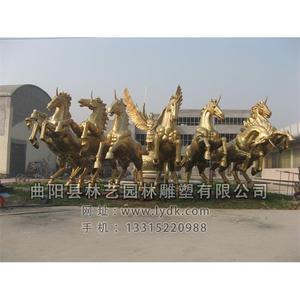 铜雕-人-马-车-02